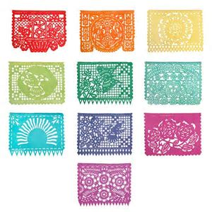 Mexican Papel Picado Tissue Paper Bunting 'Spring'   Pipii