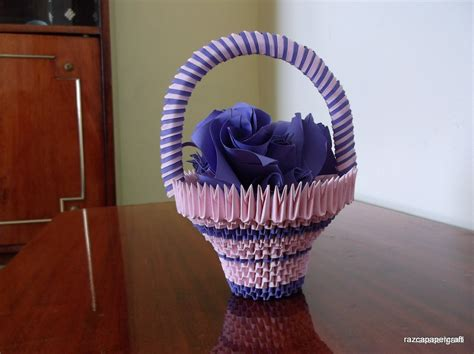 3d origami basket 3d origami basket with flowers tutorial diy paper craft