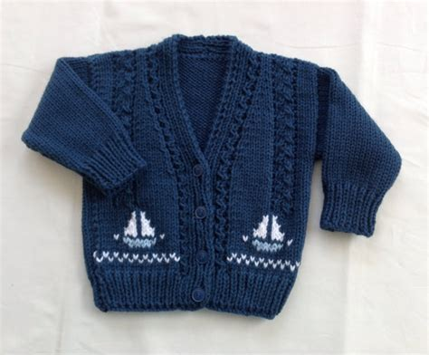 knitting motifs for babies and baby knit cardigan with sailboat motifs 6 to 12 months