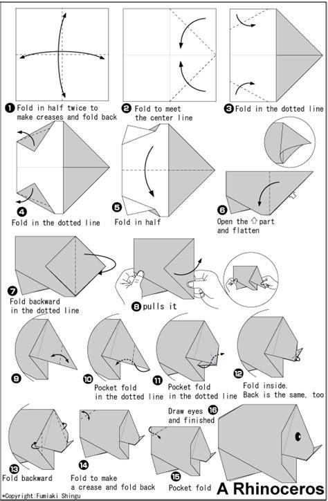 origami rhinoceros rhinoceros easy origami for