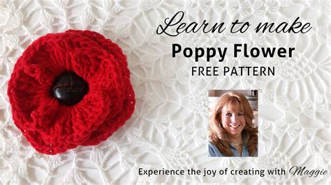 how to knit a poppy flower button poppy free crochet pattern