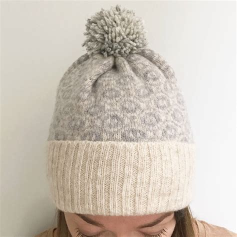 bobble hat pattern knitting lambswool knitted bobble hat ogee pattern by