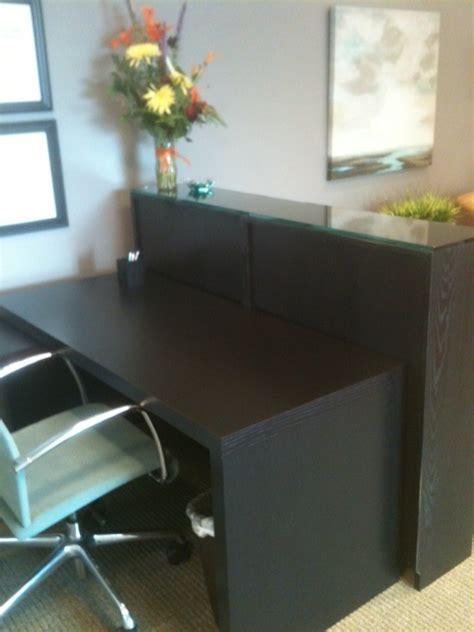 reception desk ikea malm desk and billy bookcase as reception desk view 1 ikea hacks receptions