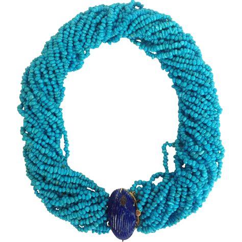 sleeping turquoise bead necklace sleeping turquoise and lapis multi strand bead