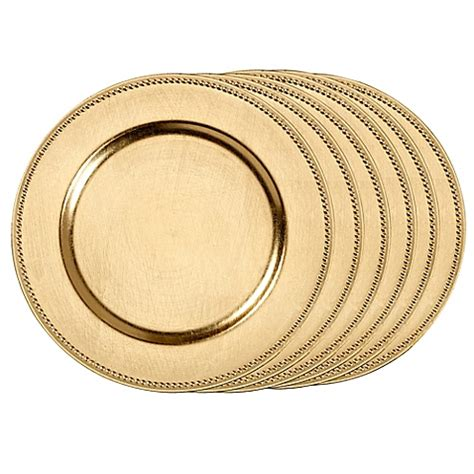 gold beaded chargers beaded charger plates set of 6 bedbathandbeyond