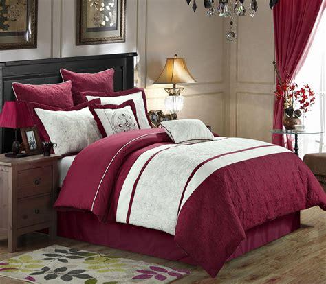 white cotton comforter set 8 caesar burgundy white comforter set