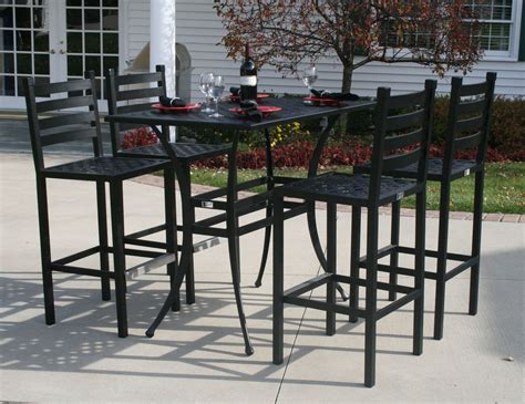 patio furniture bar height set ansley luxury 4 person all welded cast aluminum patio