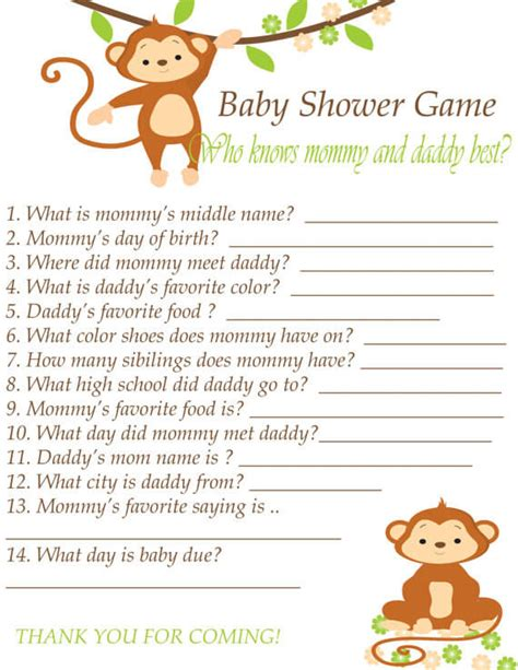 template of baby shower guessing game and guest list