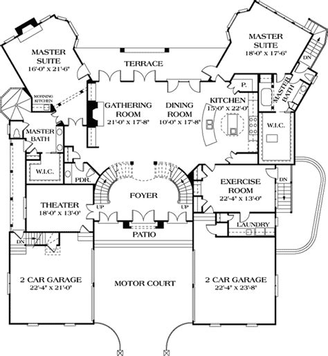 one story floor plans with two master suites dual master suites 17647lv 1st floor master suite butler walk in pantry corner lot den
