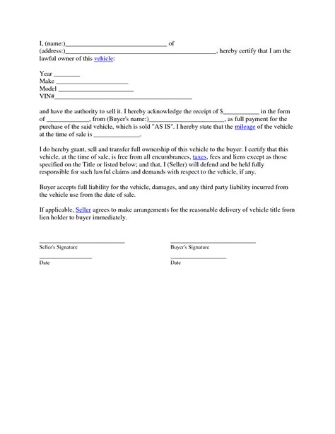 used car bill of sale template and contract letter