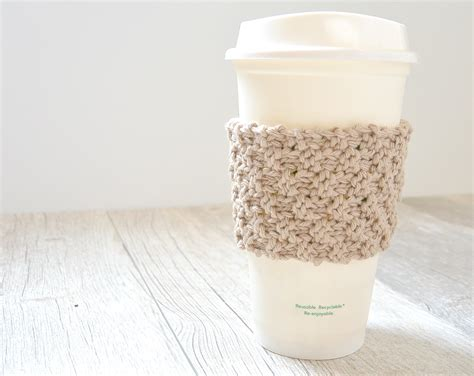 knitted cup cozy pattern seed stitch knit coffee cozy in a stitch
