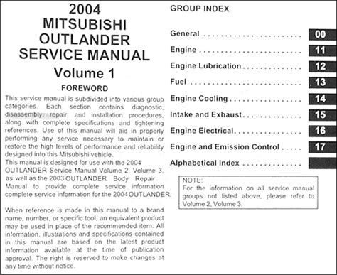 service manual 2004 mitsubishi outlander workshop manual free downloads 2004 mitsubishi