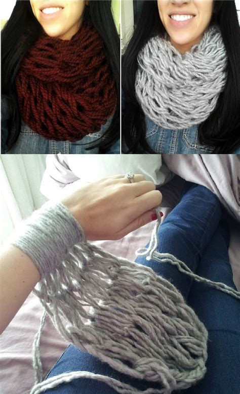 arm knitting scarf arm knitting 30 minutes infinity scarf diy alldaychic