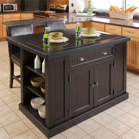 home styles kitchen island with breakfast bar home styles nantucket kitchen island two stools with black granite inlay and breakfast bar in