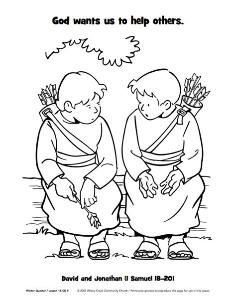 david and jonathan crafts for david spares saul coloring page buscar con