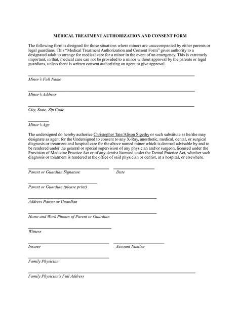 medical authorization form tomsplans parental consent