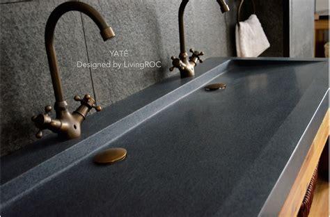 All Metal Kitchen Faucet 47 quot x 19 quot trendy double trough gray granite stone double