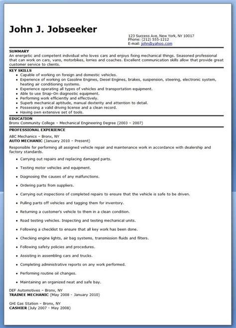 auto mechanic resume sample free career life pinterest