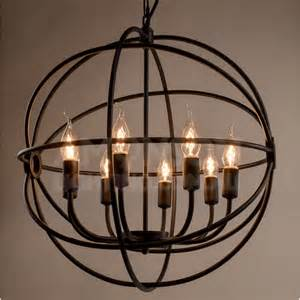 wrought iron orb chandelier foucault s orb iron chandelier black iron replica