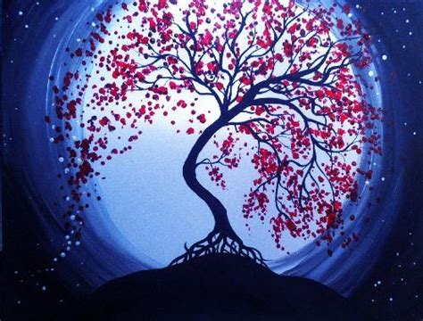 paint nite delaware blue moon cherry blossoms by lexie jelilyan paint nite