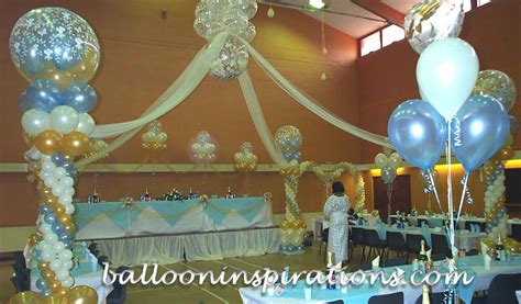blue and gold decorations wedding decorations balloon barrel vault arches