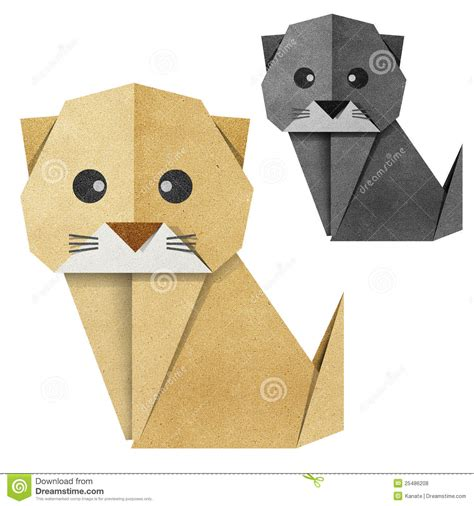 cat paper craft origami cat recycled papercraft stock illustration image