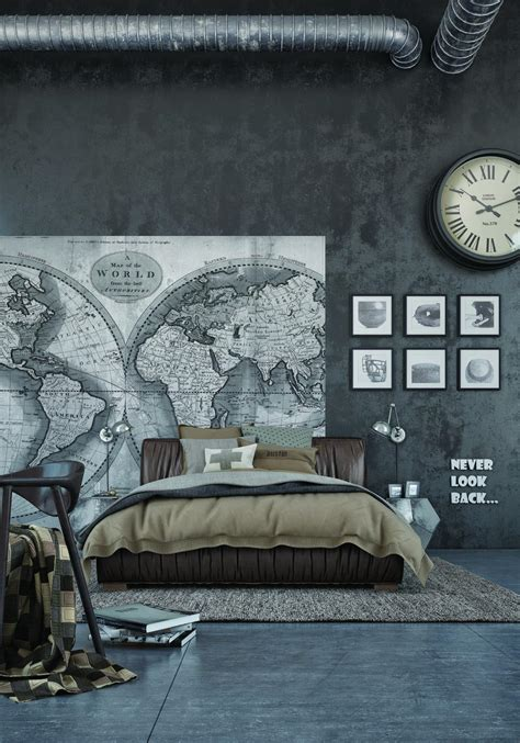 industrial bedroom design ideas exposed concrete walls ideas inspiration