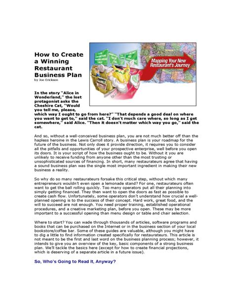 restaurant business plan guidelines free download