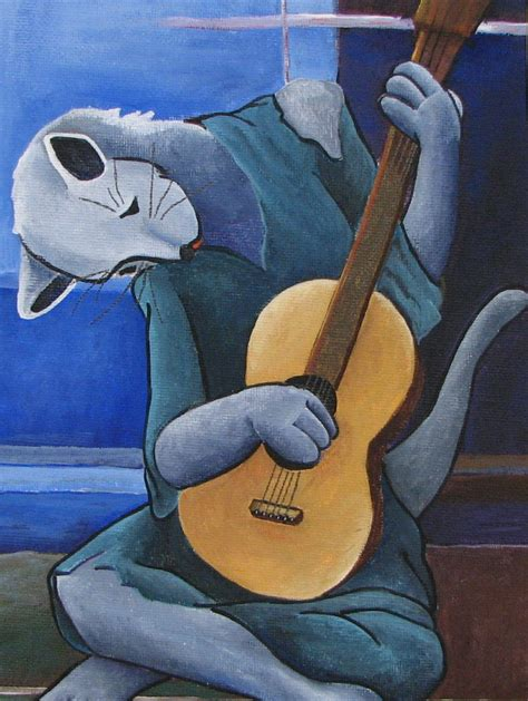 picasso paintings blue period guitar the cat guitarist with cats
