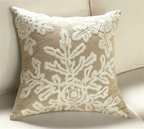 neutral snowflake embroidered pillow cover contemporary decorative pillows by pottery barn
