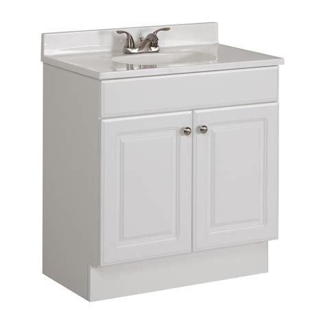 lowes white bathroom vanity shop project source white integrated single sink bathroom vanity with cultured marble top