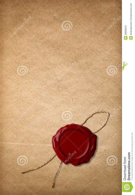 sealing paper wax seal on paper stock photo image 29683610