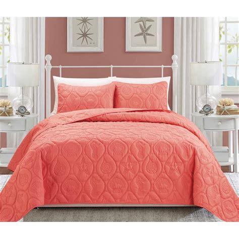 coral comforter sets mainstays coral damask bed in a bag complete bedding set