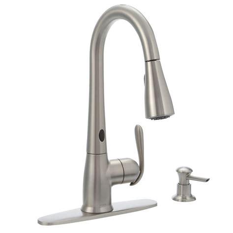 motionsense kitchen faucet moen haysfield motionsense 1 handle pulldown kitchen faucet with matching soap dispenser spot