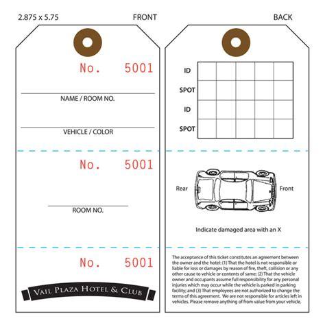 custom printed valet ticket parking tags st louis tag