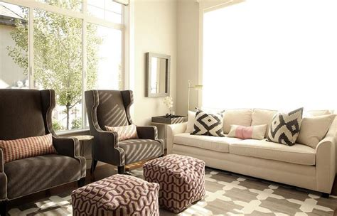 brown living room chairs white sofa with brown wingback chairs transitional