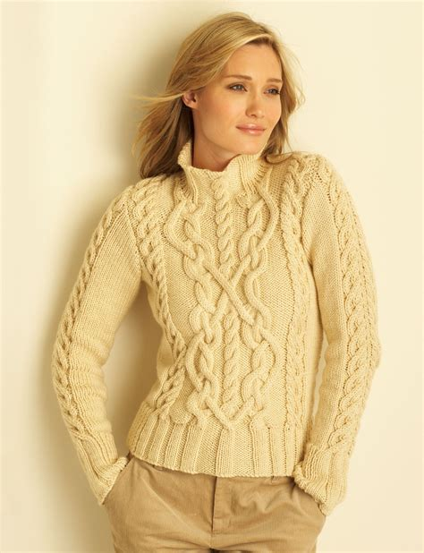 free knitted sweater patterns cable sweater patterns yarnspirations