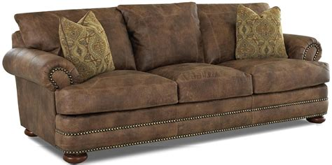 klaussner leather sofas klaussner montezuma casual style leather sofa with bun