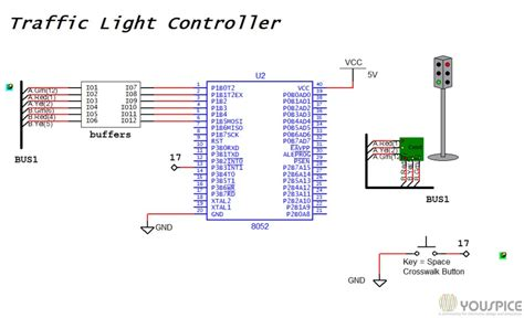 light controller schematic traffic light controller with 8052 microcontroller youspice
