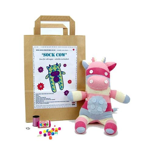 craft kits sock cow craft kit by sock creatures notonthehighstreet