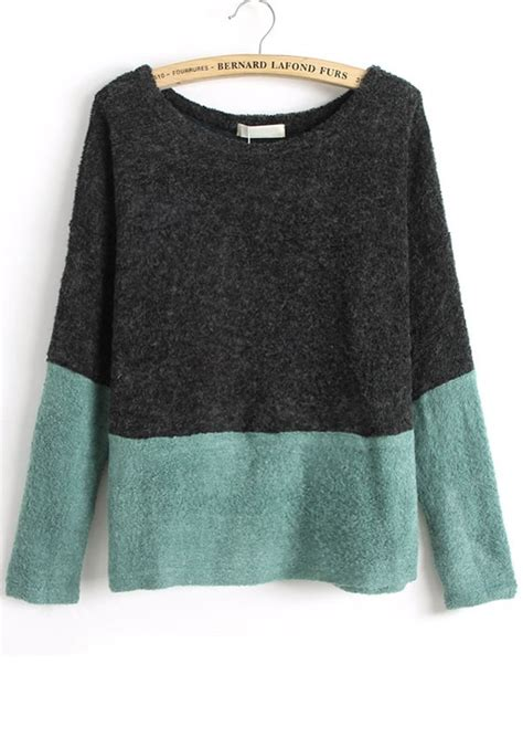 how to block a knit sweater black color block patchwork collarless knit sweater