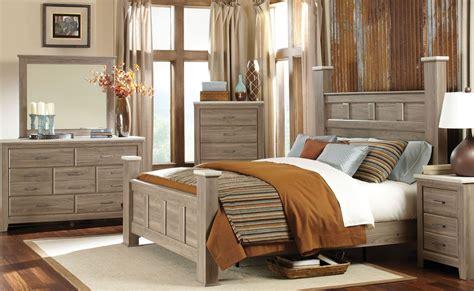 weathered oak bedroom furniture stonehill weathered oak poster bedroom set from standard