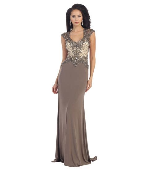 taupe beaded dress taupe sheer lace beaded dress 2015 prom from unique vintage