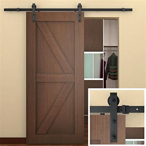 black barn door hardware smartstandard 6 6 ft sliding barn door hardware black
