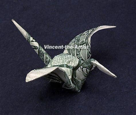 origami crane dollar bill tiny crane dollar origami animal bird vincent the artist