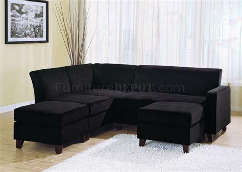 black microfiber sectional sofa black microfiber stylish sectional sofa w wooden legs