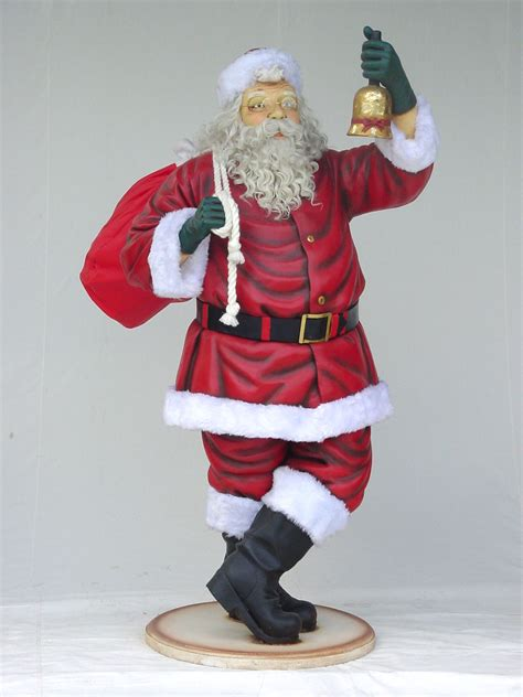 santa claus with bell statue decor size 6ft