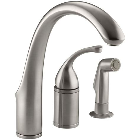 kholer kitchen faucets kohler forte single handle standard kitchen faucet with side sprayer in vibrant stainless k