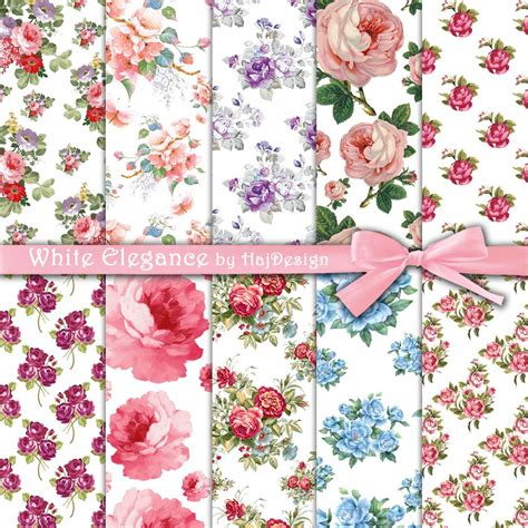 floral decoupage paper white elegance digital collage sheet digital paper