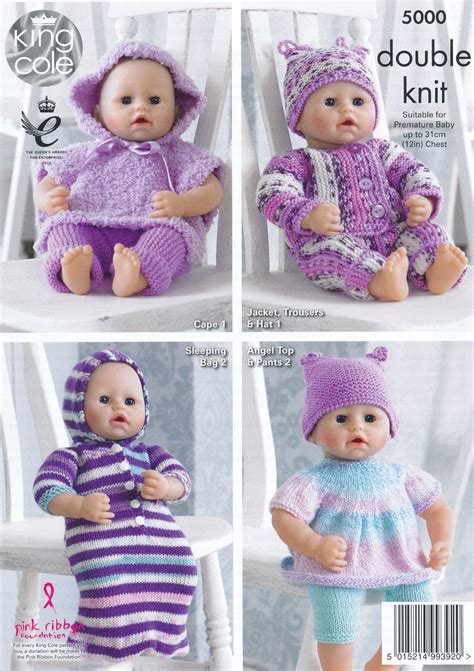 dolls clothes knitting patterns uk king cole knitting dk pattern for premature baby or
